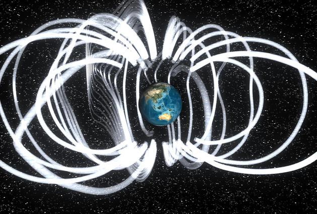 磁极的不规律现象正在从加拿大北极地区向西伯利亚地区移动,该变化是不可预测的,以至于科学家都感到非常惊讶。图中是美国宇航局描绘的地球磁场状况