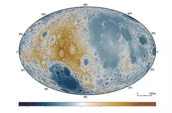 """图4""""嫦娥一号""""绘制的全月球三维立体地形"""