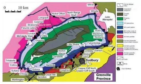 图9 18.5亿年前形成的加拿大萨德贝里撞击坑