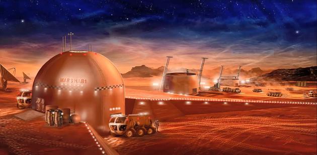 未来的火星城市设想图