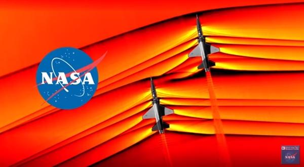 NASA首次拍摄到两架飞机突破音障时产生的气压变化