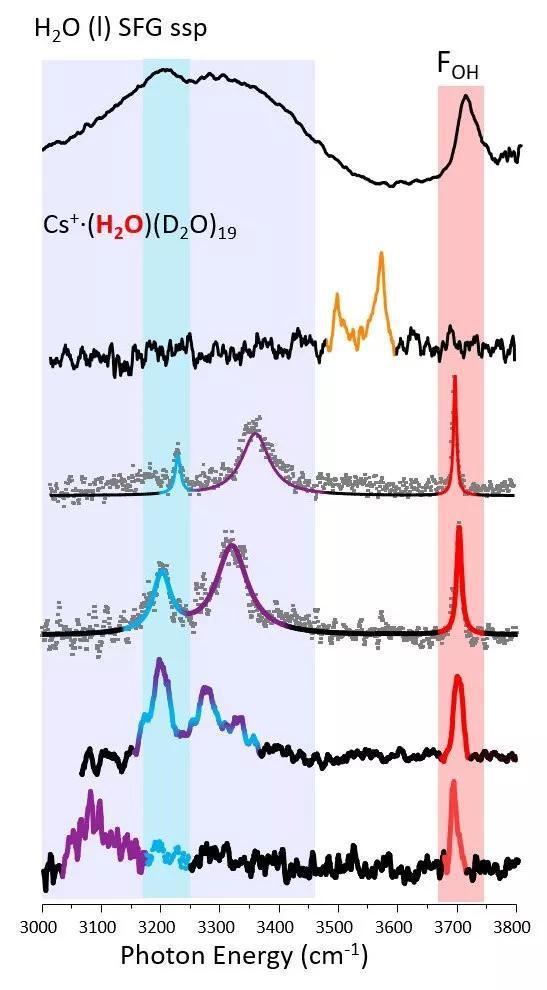 界面水的光谱(最上方)和界面上单个水分子的光谱(下方5个)