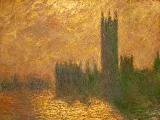 印象派画家莫奈的代表画作《议会大厦》