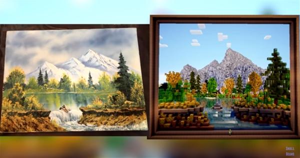 《我的世界》玩家:复制出了一幅Bob Ross画作
