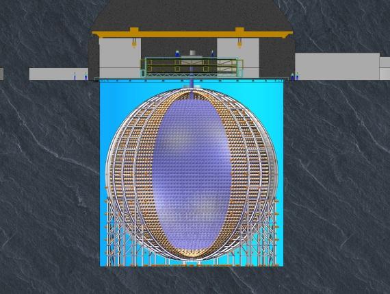 JUNO探测器示意图。 本文图片 中科院高能所提供