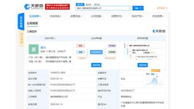 小鹏斥资1亿成立新能源投资公司 提供能源管理等服务